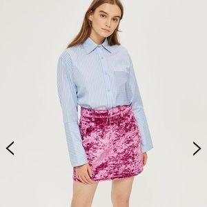 Topshop velvet pink skirt